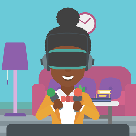 An african-american woman  wearing a virtual reality headset and holding motion controllers in hands. Woman playing video games in apartment. Vector flat design illustration. Square layout.