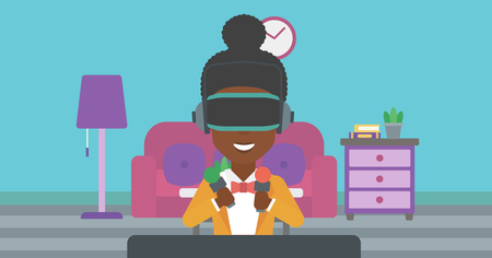 An african-american woman wearing a virtual reality headset and holding motion controllers in hands. Woman playing video games in apartment. Vector flat design illustration. Horizontal layout.