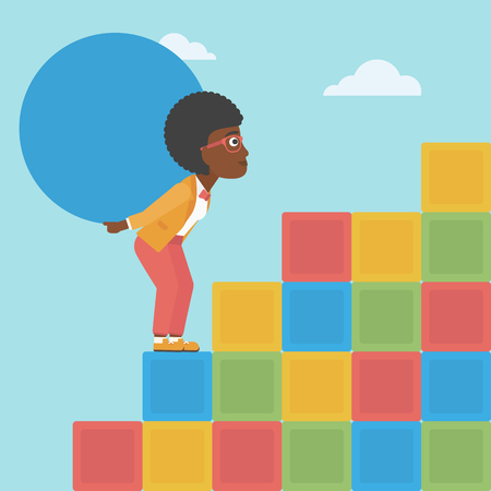 An african-american woman rising up on the colored cubes and carrying a big stone on her back. Woman with huge concrete ball going up. Vector flat design illustration. Square layout.