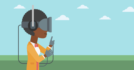An african-american woman wearing a virtual reality headset. Woman playing video games outdoor. Woman wearing gamer gloves. Vector flat design illustration. Horizontal layout.
