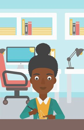 An african-american woman making a model with a 3D pen. Woman drawing geometric shape by 3d pen. Engineer working with a 3 dimensional pen. Vector flat design illustration. Vertical layout.