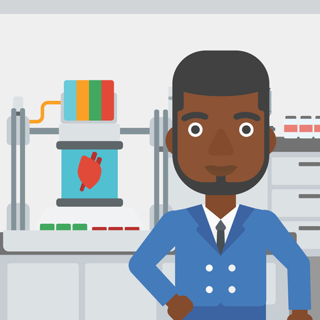 An african-american man standing near 3D printer making a heart on the background of laboratory. Man working with 3D printer. Vector flat design illustration. Square layout. Illustration