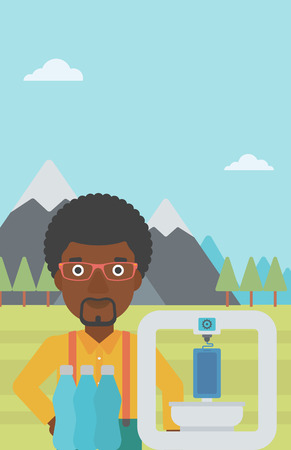 An african-american man standing near 3D printer on the background of mountains. Three D printer making a smartphone using recycled plastic bottles. Vector flat design illustration. Vertical layout. Illustration