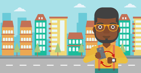 An african-american man holding smartphone and looking at his smart watch. Synchronization between smartwatch and smartphone. Vector flat design illustration. Horizontal layout. Illustration