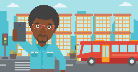 An african-american man making selfie. Man taking photo with cellphone. Man looking at smartphone and taking selfie on a background of city. Vector flat design illustration. Horizontal layout.
