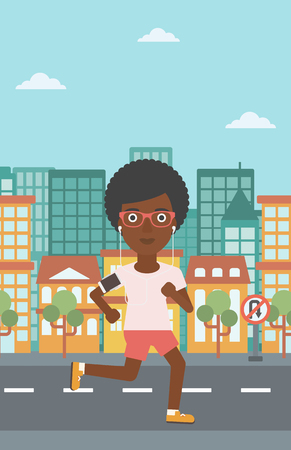 An african-american woman running with earphones and armband for smartphone. Woman listening to music during running. Woman running in the city. Vector flat design illustration. Vertical layout. Illustration