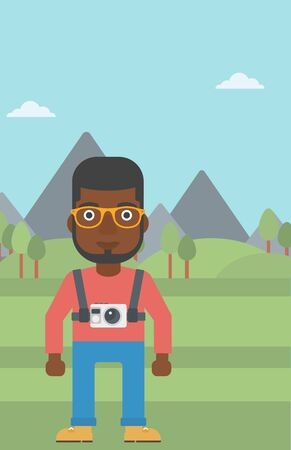 An african-american man with a digital camera on his chest. Tourist with a digital camera standing on the background of mountains. Vector flat design illustration. Vertical layout.