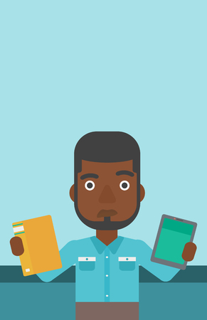 An african-american man choosing between a tablet computer and a paper book. Man holding book in one hand and tablet computer in the other. Vector flat design illustration. Vertical layout.