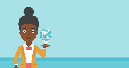 telephone cartoon: An african-american woman holding a smartphone with a model of planet earth above the device. International technology communication concept. Vector flat design illustration. Horizontal layout.
