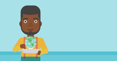 An african-american man holding tablet computer with model of planet earth above the device. International technology communication concept. Vector flat design illustration. Horizontal layout.