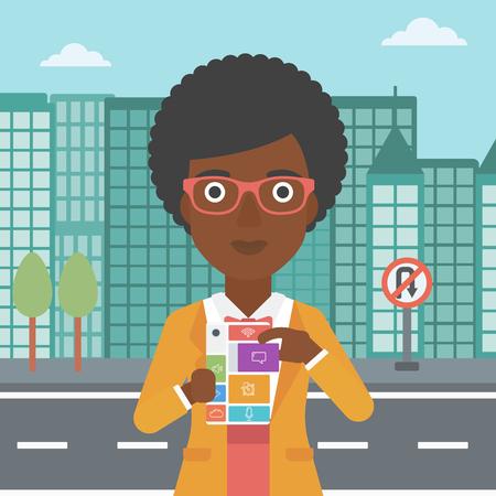 An african-american woman holding modular phone. An african-american woman with modular phone standing on a city background. Woman using modular phone. Vector flat design illustration. Square layout. Illusztráció