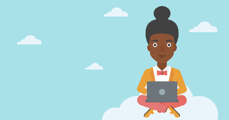An african-american woman sitting on a cloud with a laptop on her knees. Happy woman using cloud computing technology. Cloud computing concept. Vector flat design illustration. Horizontal layout.