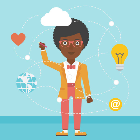 An african-american woman writing on a virtual screen. Business woman drawing a cloud computing diagram on a virtual screen. Cloud computing concept. Vector flat design illustration. Square layout.