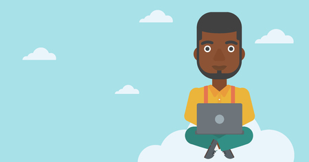 using laptop: An african-american man sitting on a cloud with a laptop on his knees. Happy man using cloud computing technology. Cloud computing concept. Vector flat design illustration. Horizontal layout. Illustration