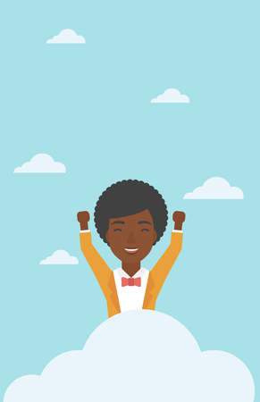 An african-american happy woman with raised hands sitting on a cloud on the background of blue sky. Cloud computing concept. Vector flat design illustration. Vertical layout.