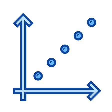 Business graph vector line icon isolated on white background. Blue icon designed on a grid system.