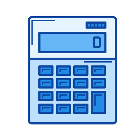 Calculator vector line icon isolated on white background. Calculator line icon for infographic, website or app. Blue icon designed on a grid system.