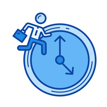 Time managment vector line icon isolated on white background. Time managment line icon for infographic, website or app. Blue icon designed on a grid system.