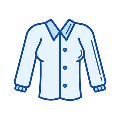 Blouse vector line icon isolated on white background. Blouse line icon for infographic, website or app. Blue icon designed on a grid system. Illustration