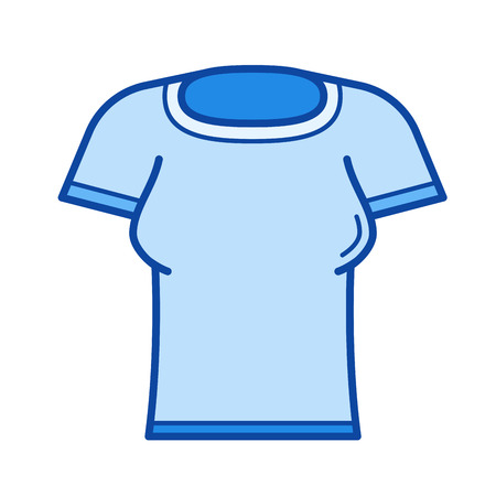Woman t-shirt vector line icon isolated on white background. Woman t-shirt line icon for infographic, website or app. Blue icon designed on a grid system.