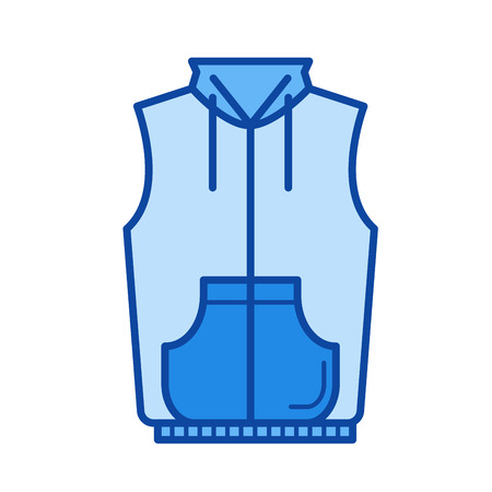 Waistcoat vector line icon isolated on white background. Waistcoat line icon for infographic, website or app. Blue icon designed on a grid system. 矢量图像