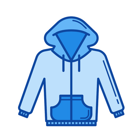 Hoodie vector line icon isolated on white background. Hoodie line icon for infographic, website or app. Blue icon designed on a grid system. Illustration