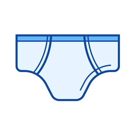 Brief pants vector line icon isolated on white background. Brief pants line icon for infographic, website or app. Blue icon designed on a grid system.