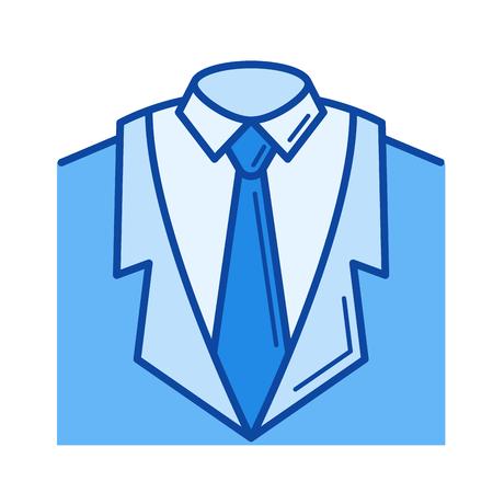 흰색 배경에 고립 된 벡터 라인 아이콘을 양복. 인포 그래픽, 웹 사이트 또는 앱의 수트 아이콘. 그리드 시스템에서 설계된 파란색 아이콘. 일러스트