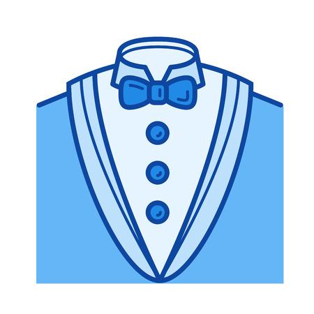 흰색 배경에 고립 된 턱시도 벡터 라인 아이콘입니다. 인포 그래픽, 웹 사이트 또는 앱용 턱시도 라인 아이콘. 그리드 시스템에서 설계된 파란색 아이