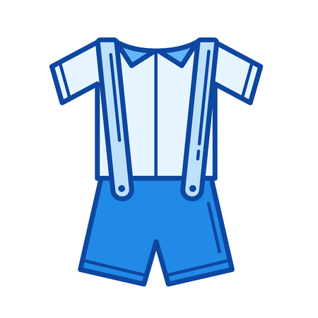 Baby clothes vector line icon isolated on white background. Baby clothes line icon for infographic, website or app. Blue icon designed on a grid system.