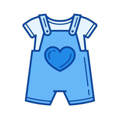 Baby romper vector line icon isolated on white background. Baby romper line icon for infographic, website or app. Blue icon designed on a grid system.