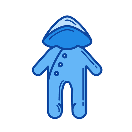 Baby sleepsuit vector line icon isolated on white background. Blue icon designed on a grid system. Illustration