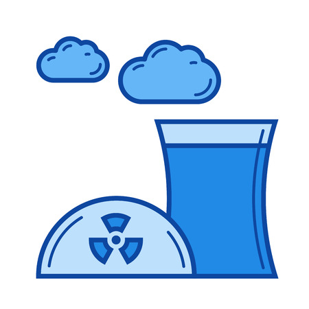 Nuclear pollution vector line icon isolated on white background. Blue icon designed on a grid system. Illustration