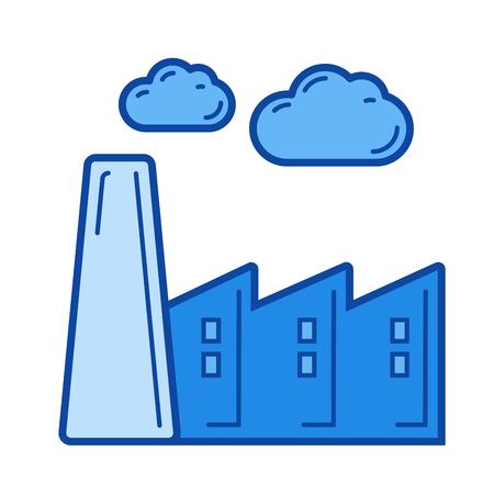 Kohlenstoffemissionsvektorlinie Ikone lokalisiert auf weißem Hintergrund. Blaues Symbol entworfen auf einem Rastersystem. Standard-Bild - 84740341
