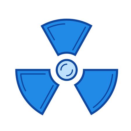 Icône de ligne de vecteur de rayonnement isolé sur fond blanc. Icône bleue conçue sur un système de grille.