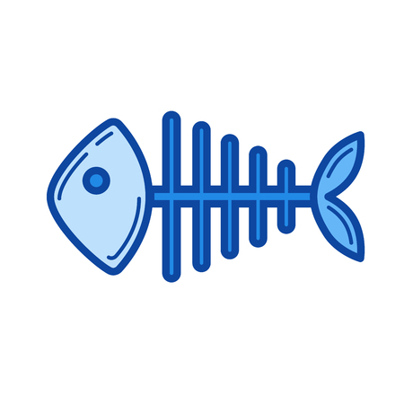 fishbone: Fish skeleton vector line icon isolated on white background. Blue icon designed on a grid system.