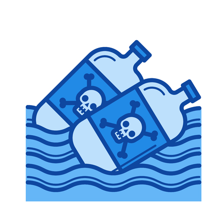 Sea pollution vector line icon isolated on white background. Sea pollution line icon for infographic, website or app. Blue icon designed on a grid system.
