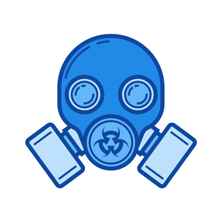 Gas mask vector line icon isolated on white background. Blue icon designed on a grid system.