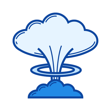 Nuclear explosion vector line icon isolated on white background. Blue icon designed on a grid system.
