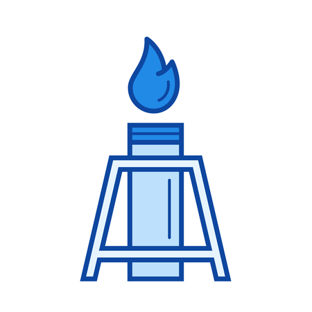 flue: Oil well vector line icon isolated on white background. Oil well line icon for infographic, website or app. Blue icon designed on a grid system. Illustration