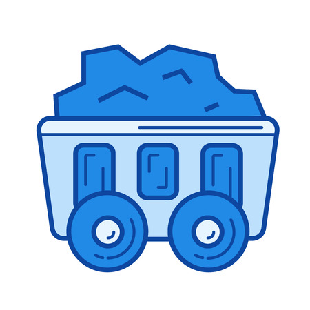 Mining cart vector line icon isolated on white background. Mining cart line icon for infographic, website or app. Blue icon designed on a grid system.