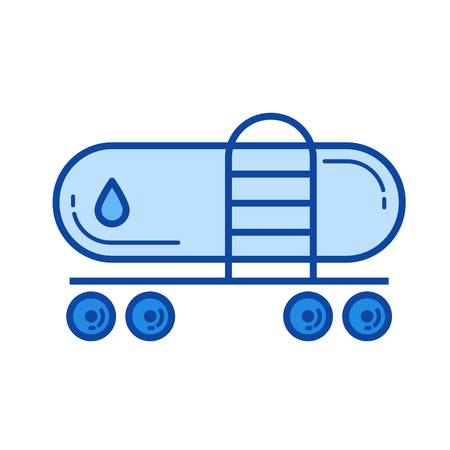 Freight train vector line icon isolated on white background. Freight train line icon for infographic, website or app. Blue icon designed on a grid system.