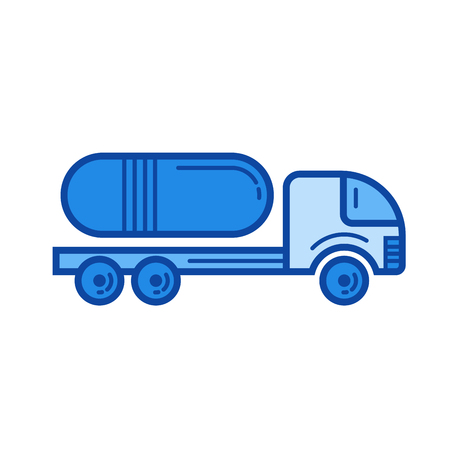 Commercial truck vector line icon isolated on white background. Commercial truck line icon for infographic, website or app. Blue icon designed on a grid system.
