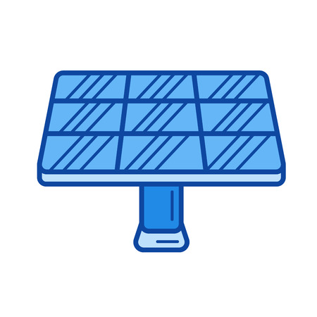 electric grid: Solar panel vector line icon isolated on white background. Solar panel line icon for infographic, website or app. Blue icon designed on a grid system.