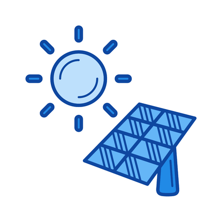 Solar energy vector line icon isolated on white background. Solar energy line icon for infographic, website or app. Blue icon designed on a grid system.