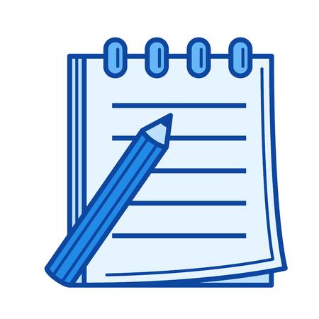 Tomando nota icono de línea de vector aislado sobre fondo blanco. Tomando el icono de la línea de la nota para el infographic, el Web site o la aplicación. Icono azul diseñado en un sistema de cuadrícula.