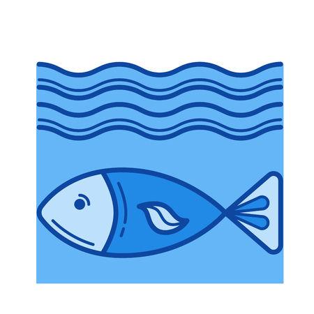 Fish vector line icon isolated on white background. Fish line icon for infographic, website or app. Blue icon designed on a grid system. Illustration