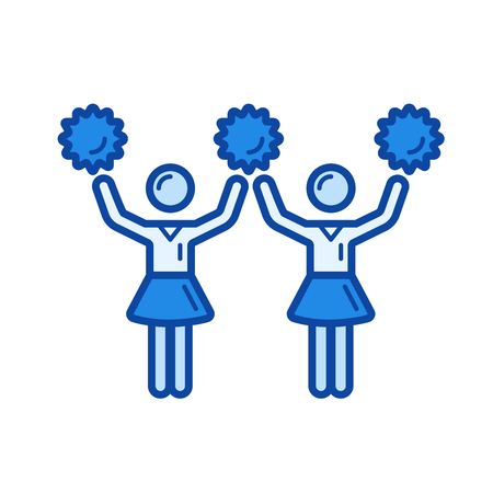 pom: Cheerleading vector line icon isolated on white background. Cheerleading line icon for infographic, website or app. Blue icon designed on a grid system. Illustration