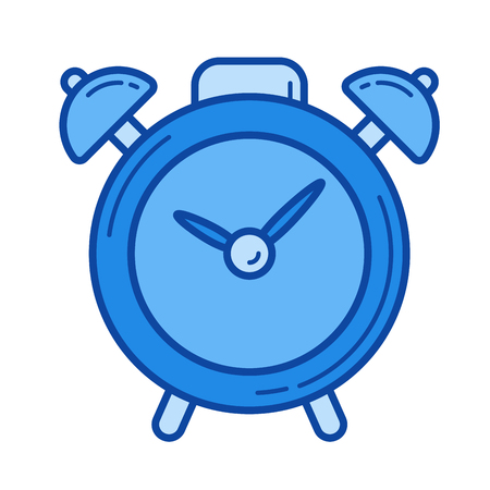 Alarm clock vector line icon isolated on white background. Alarm clock line icon for infographic, website or app. Blue icon designed on a grid system.