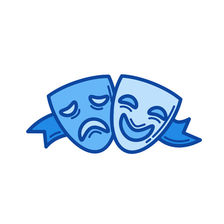 Theater masks vector line icon isolated on white background. Theater masks line icon for infographic, website or app. Blue icon designed on a grid system.